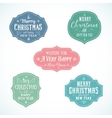 Vintage typography soft color christmas badges set vector