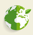 Green eco earth green earth with green leaf vector