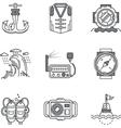 Snorkeling black line icons vector