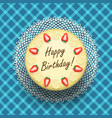 Cheese birthday cake with strawberries vector