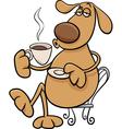 Dog with coffeel cartoon vector