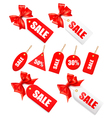 Red bow with card sale vector