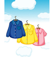 Three different kinds of clothes hanging vector