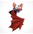 Cute cartoon flying bat isolated on white vector