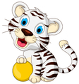 Cute baby white tiger posing with yellow ball vector