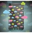 Cute doodle rainy clouds pattern on smart phone vector
