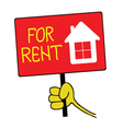 Hand holding a sign with a message for rent vector