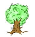 Old tree with hiding animals cartoon icon vector