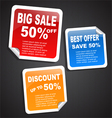 Discount paper labels vector