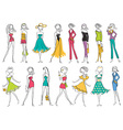 Women in modern fashion clothes isolated on white vector