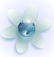 Planet earth in the center of the white flower vector