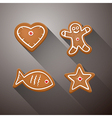 Christmas gingerbread - heart fish star and vector