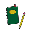 Notebook and pencil hand drawn vector