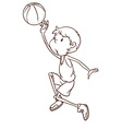 A plain sketch of a male basketball player vector