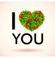I love you heart made of leaves and strawberries vector
