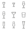 Outline alcohol glasses icon set vector