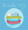 Baby boy sleeping on pillows card in vector