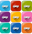 Rounded buttons with cars vector