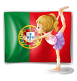 A young girl in front of the portugal flag vector