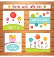 Cards collection with cute buttons perfect vector