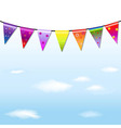 Rainbow bunting banner garland with sky vector
