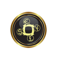 Currency exchange icon button gold copy vector