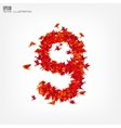 Number 9 numbers with origami paper bird on vector