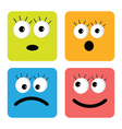 Set of cute funny face emotions square icons flat vector