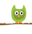 Funny green animal on a branch vector