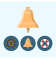 Set icons with bell lifebuoy  ship wheel vector