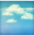 Blue sky white clouds vintage background vector