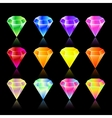 Bright star rounded hexagon gem set in vector