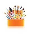 Art supplies box isolated vector