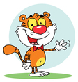 Animal tiger waving a greeting vector
