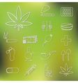 Drug outline icons vector
