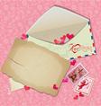Vintage postcard envelope post stamps paper hearts vector