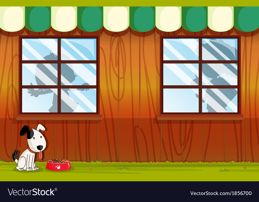 A puppy panting outside the house vector | Price: 1 Credit (USD $1)