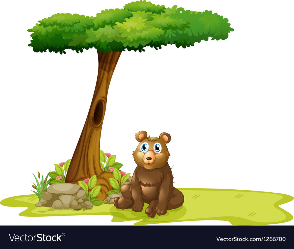 A tree with a hollow at the back of a bear vector | Price: 1 Credit (USD $1)