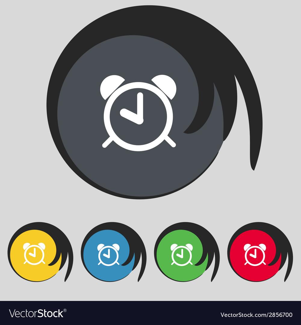 Alarm clock sign icon wake up alarm symbol set vector | Price: 1 Credit (USD $1)