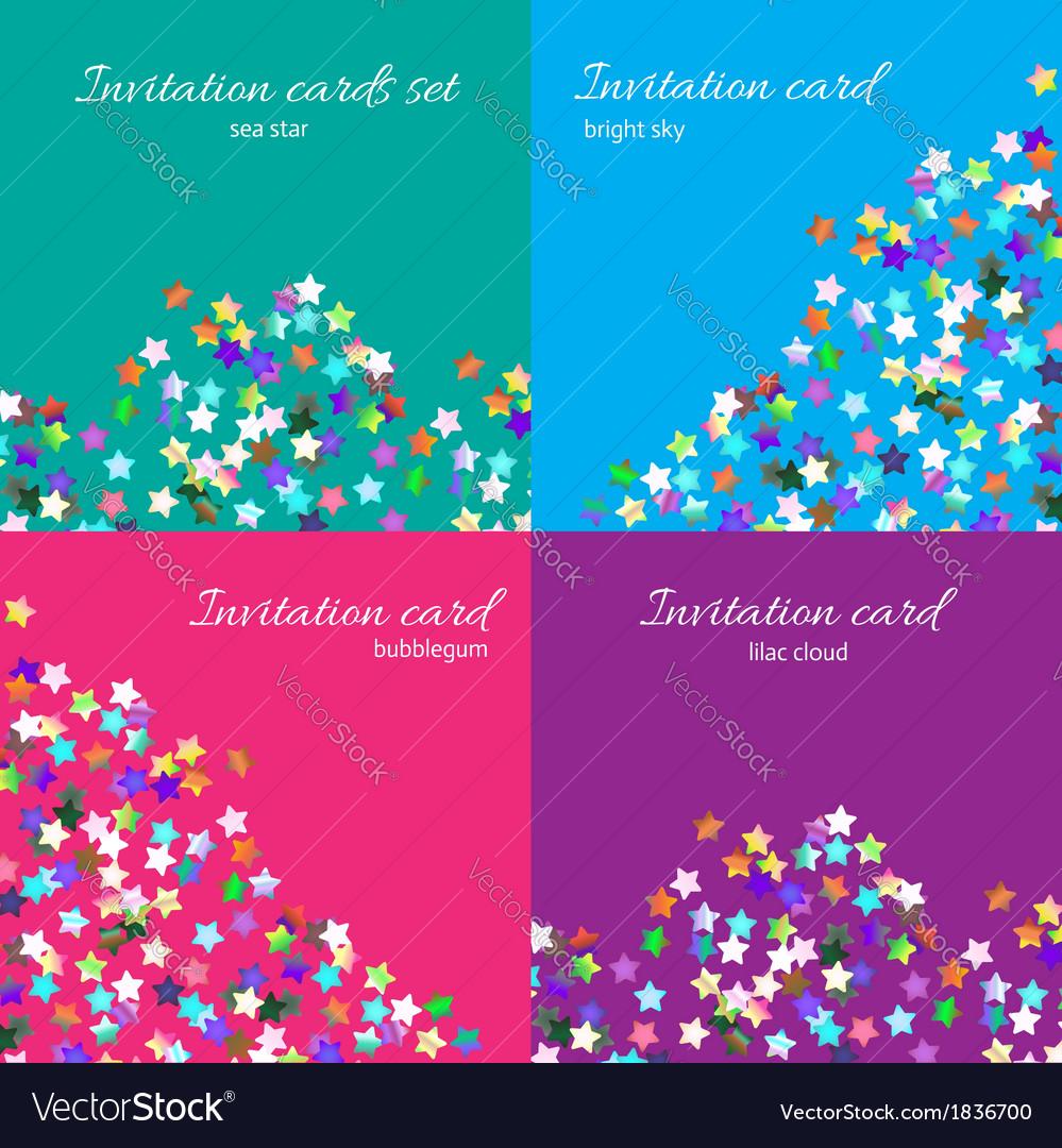 Bright invitation card set vector | Price: 1 Credit (USD $1)