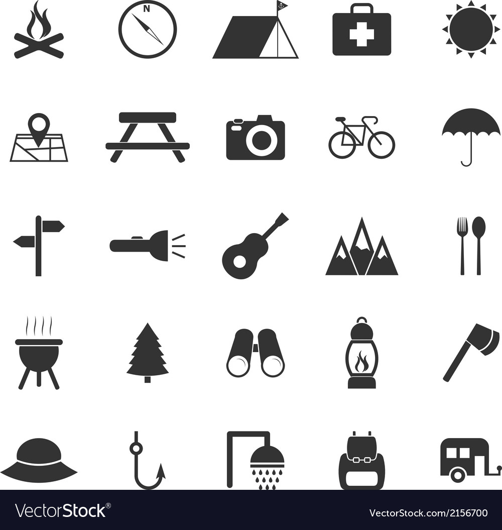 Camping icons on white background vector | Price: 1 Credit (USD $1)