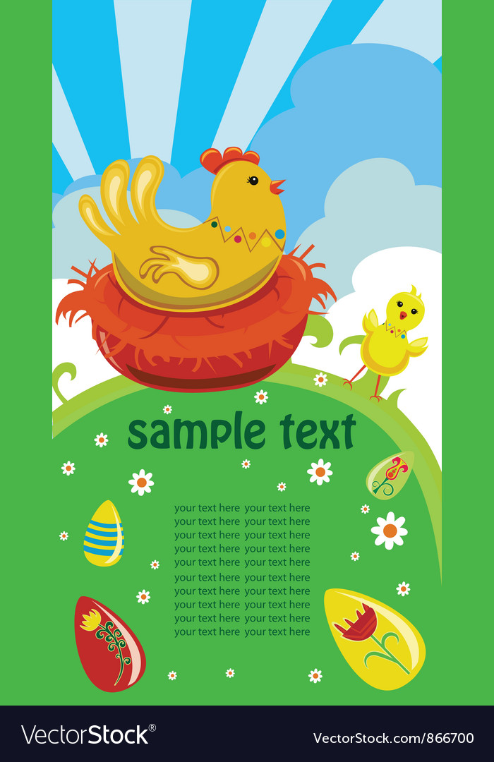 Easter background with hen vector | Price: 1 Credit (USD $1)