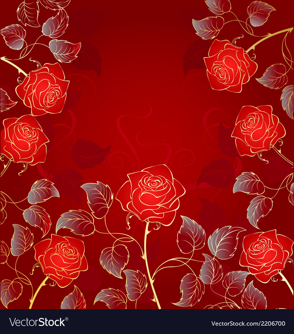 Golden red roses vector | Price: 1 Credit (USD $1)