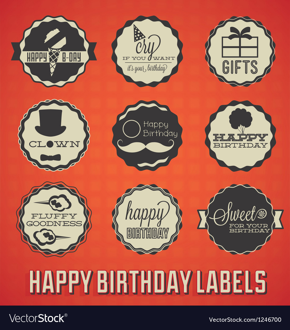 Happy birthday labels and icons vector | Price: 1 Credit (USD $1)