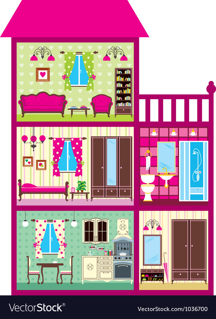 House for the girl in a cut vector | Price: 3 Credit (USD $3)