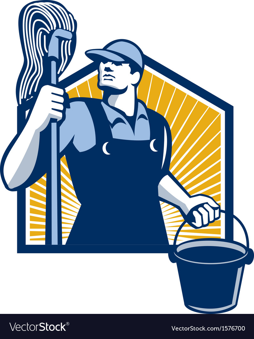 Janitor cleaner holding mop bucket retro vector | Price: 1 Credit (USD $1)