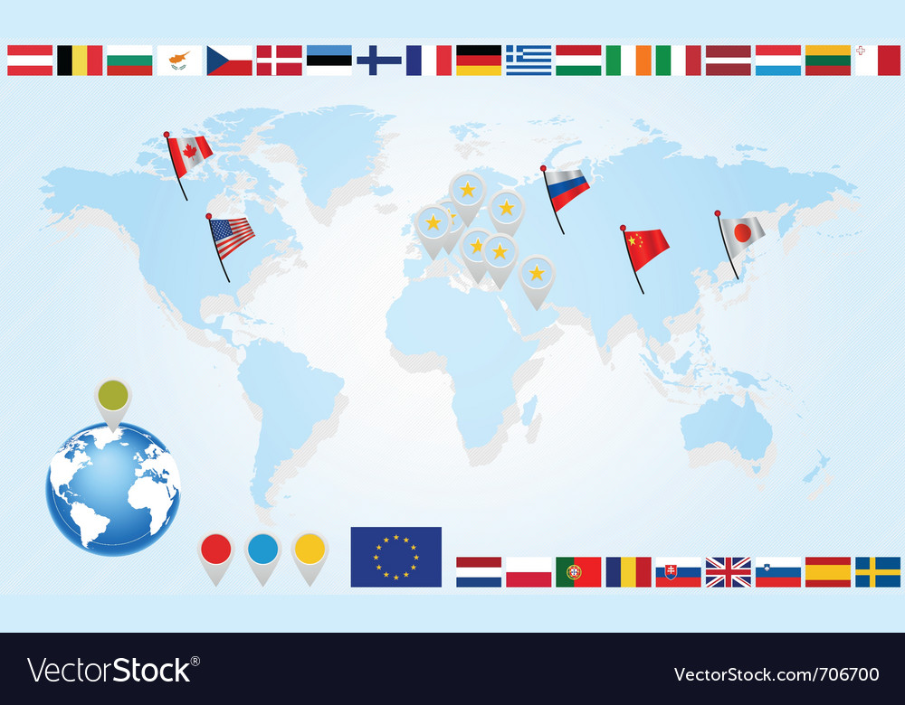 Set flags of eu countries on world map vector | Price: 1 Credit (USD $1)