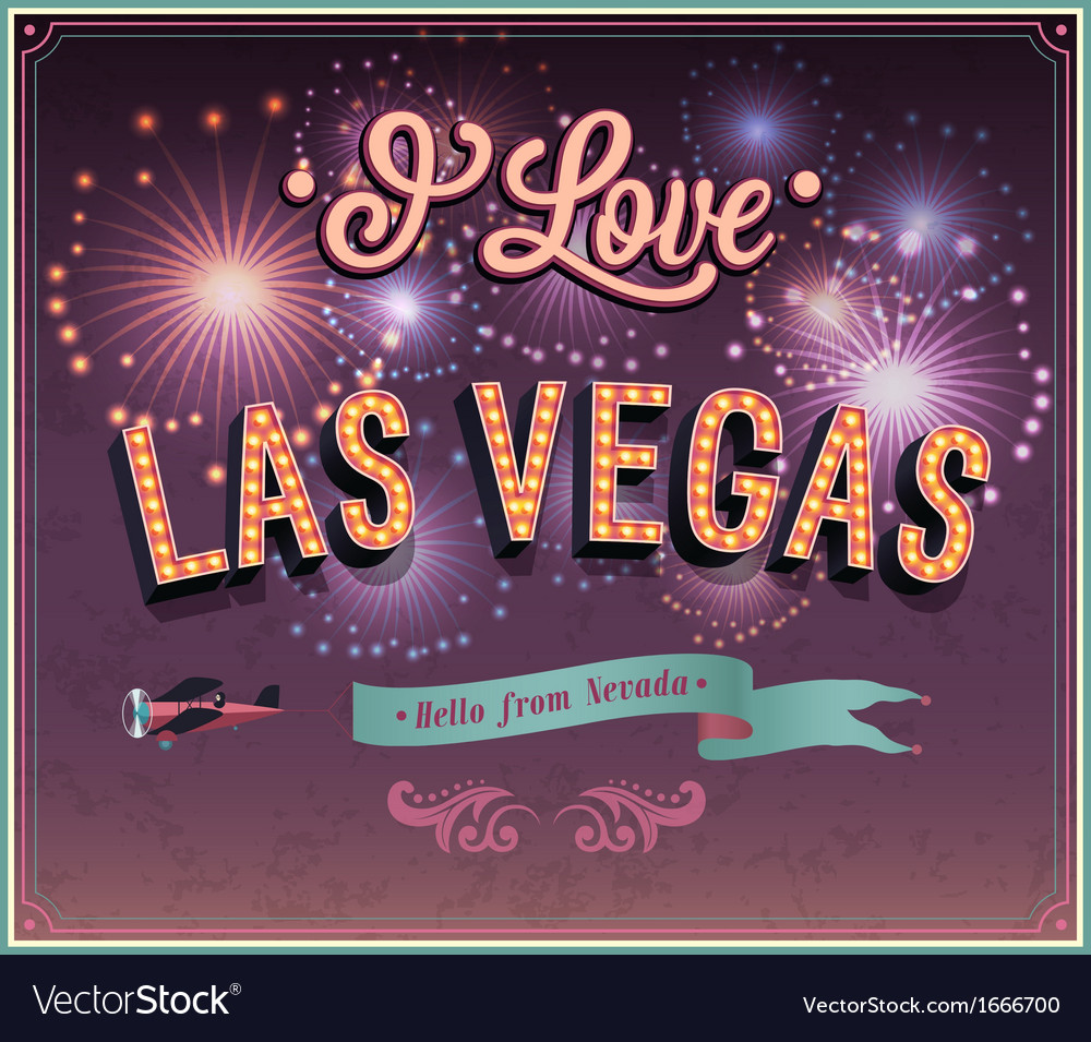 Vintage greeting card from las vegas vector | Price: 1 Credit (USD $1)
