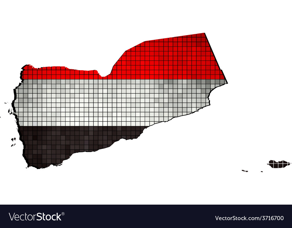 Yemen map with flag inside vector | Price: 1 Credit (USD $1)
