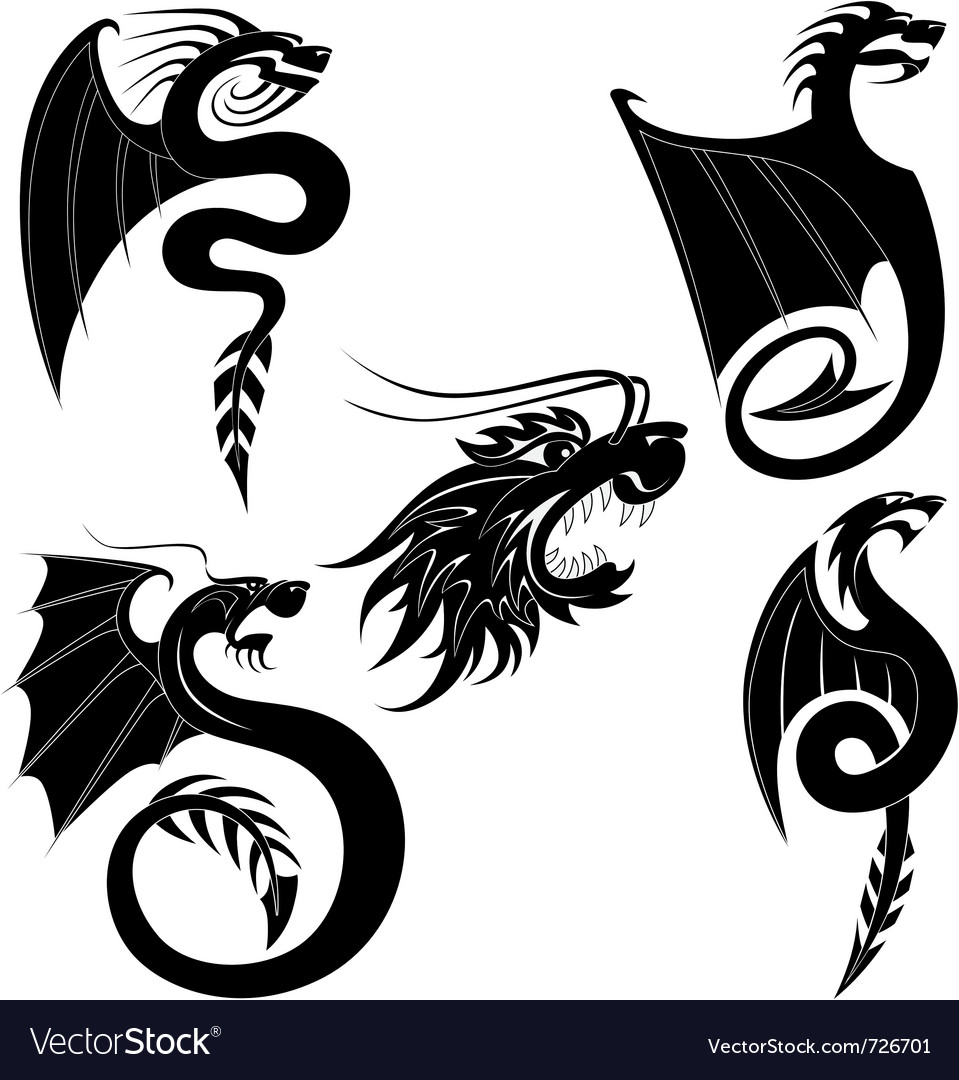 Black dragons tattoo vector | Price: 1 Credit (USD $1)